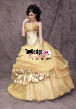 2017 New Beaded Sweet 15 Dress Gold Vestidos De Fiesta Satin Tulle Quinceanera Ball Gown