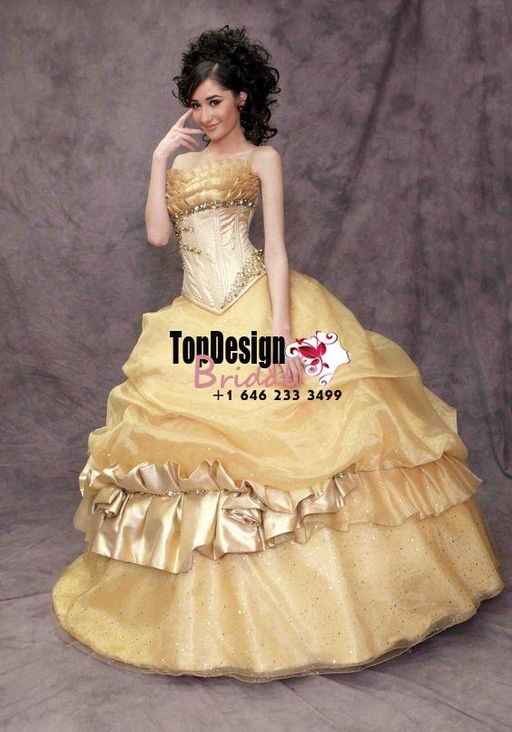 2017 New Beaded Sweet 15 Dress Gold Vestidos De Fiesta Satin Tulle Quinceanera Ball Gown