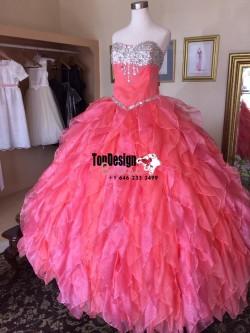 2017 New Beaded Sweet 15 Dress Hot Pink Vestidos De Fiesta Satin Organza Quinceanera Ball Gown