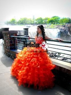 2017 New Beaded Sweet 15 Dress Orange Vestidos De Fiesta Ruffled Organza Quinceanera Ball Gown