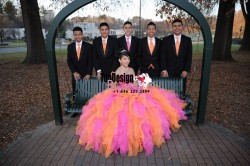 2017 New Beaded Sweet 15 Dress Pink and Orange Vestidos De Fiesta Satin Organza Quinceanera Ball ...