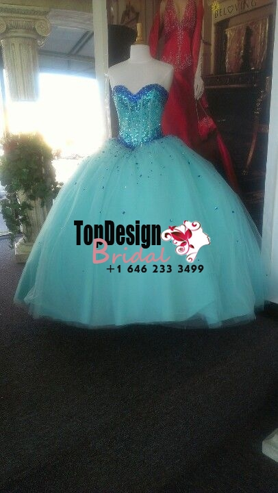 2017 New Beaded Sweet 15 Dress Tiffany Blue Vestidos De Fiesta Satin Tulle Quinceanera Ball Gown