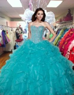 2017 New Beaded Sweet 15 Dress Turquoise Vestidos De Fiesta Satin Organza Quinceanera Ball Gown