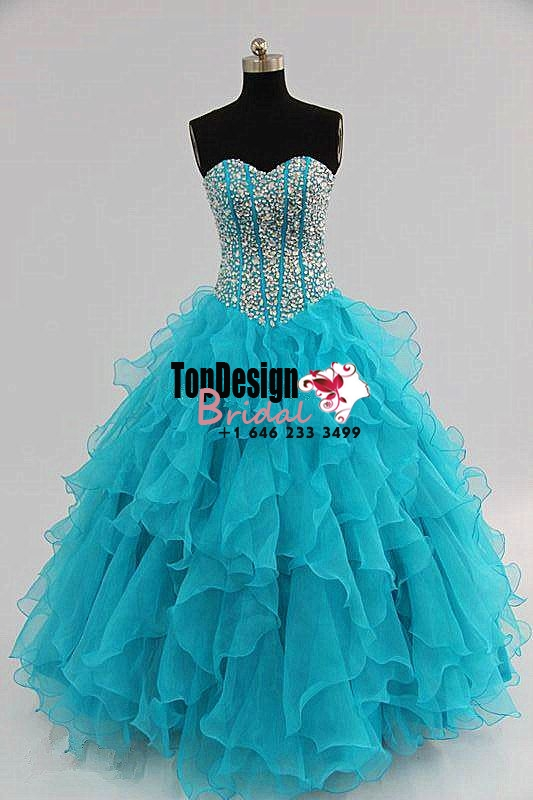 2017 New Beaded Sweet 15 Dress Turquoise Vestidos De Fiesta Satin Organza Quinceanera Ball Gown