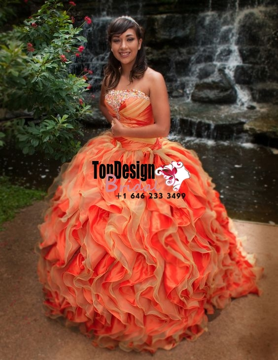2017 New Beaded Sweet 15 Dress Two-Tones Orange Vestidos De Fiesta Satin Organza Quinceanera Bal ...