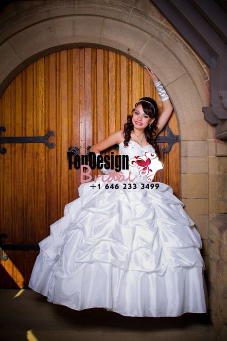 2017 New Beaded Sweet 15 Dress White Vestidos De Fiesta Taffeta Pick-up Quinceanera Ball Gown