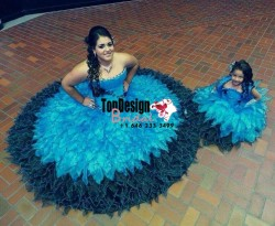 2017 New Beading Sweet 15 Ball Gown Blue and Dark Green Satin Organza Prom Dress Gown Vestidos D ...