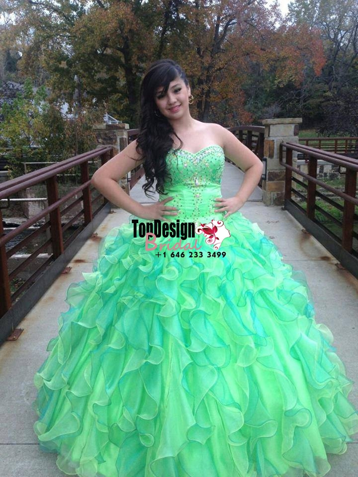 2017 New Beading Sweet 15 Ball Gown Lime Green Satin Tulle Prom Dress Gown Vestidos De 15 Anos