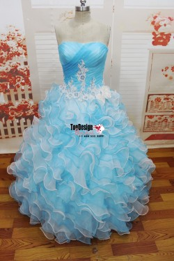 2017 New Embroidery Sweet 15 Ball Gown Blue and White Prom Dress Gown Vestidos De 15 Anos
