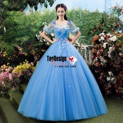 2017 New Flower Sweet 15 Ball Gown Blue Scoop Neck Satin Tulle Prom Dress Gown Vestidos De 15 An ...