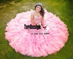 2017 New Fully Beaded Sweet 15 Dress Pink Vestidos De Fiesta Satin Organza Quinceanera Ball Gown