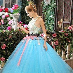 2017 New Lace Beaded Sweet 15 Ball Gown Blue High Neck Tulle Prom Dress Gown Vestidos De 15 Anos ...
