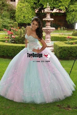 2017 New Sequined Beading Sweet 15 Ball Gown Rainbow Color Satin Tulle Prom Dress Gown Vestidos  ...