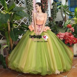 2017 New Sweet 15 Ball Gown Olive Green and Peach Satin Tulle Prom Dress Gown Vestidos De 15 Anos