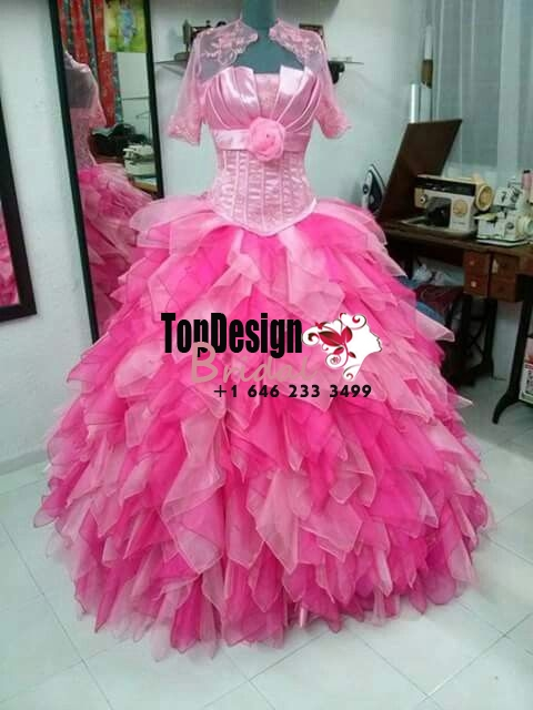 2017 New Sweet 15 Dress Two-Tones Pink Vestidos De Fiesta Satin Organza Quinceanera Ball Gown