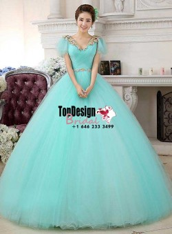 2017 New V-Neck Beaded Sweet 15 Ball Gown Tiffany Blue Satin Tulle Prom Dress Gown Vestidos De 1 ...