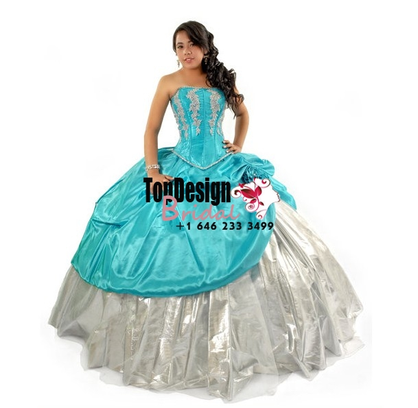 2017 new white and turquoise applique organza taffeta corset puffy sweet 15 quinceanera dress