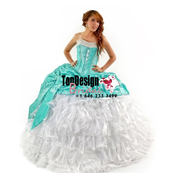 2017 new whtie and turquoise beaded organza taffeta corset sweet 15 quinceanera dress with bowknot