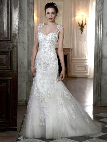 Open Back Trumpet/Mermaid Tulle Beading Sweetheart Ivory Wedding Dresses in UK