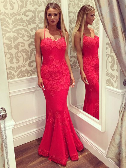 Red Trumpet/Mermaid Sweetheart Backless Lace Floor-length Latest Prom Dresses in UK
