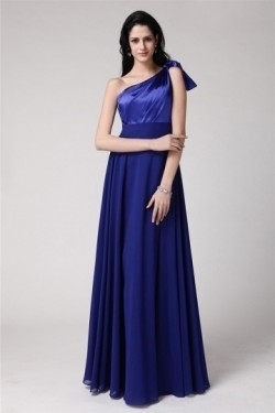 Robe bleu élégante encolure asymétriquelonge pour mariage – Robespourmariage.fr