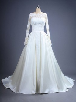 Scalloped Neck Ivory Satin with Appliques Lace Court Train Long Sleeve Wedding Dresses in UK