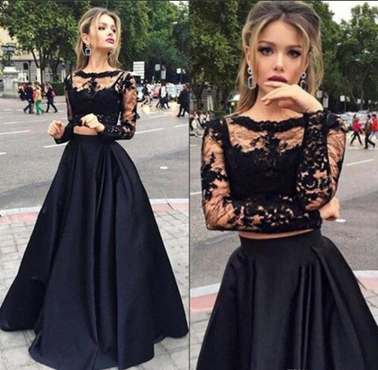 Scoop Neck Black Tulle Elastic Woven Satin Appliques Lace Long Sleeve Two Piece Prom Dress in UK