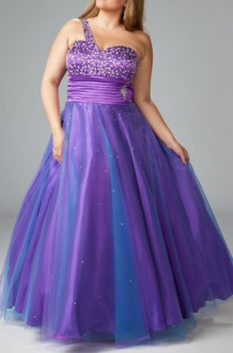 US$169.99 2015 Beading Satin Purple One Shoulder Lace Up Tulle Sleeveless Ruched Floor Length Ba ...