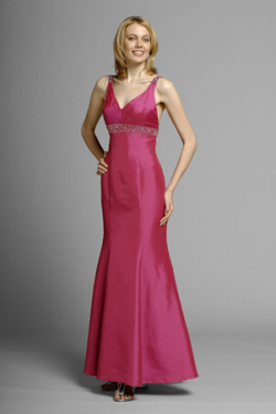 US$169.99 2015 Fuchsia Sleeveless Satin V-neck Ankle Length Mermaid