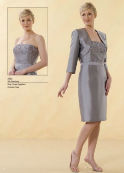 US$165.99 2015 Grey Strapless Appliques Jacket Sleeveless Satin Knee Length