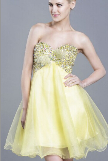 US$143.99 2016 Ruched Yellow Sleeveless Short Length Tulle Sweetheart Crystals Lace Up