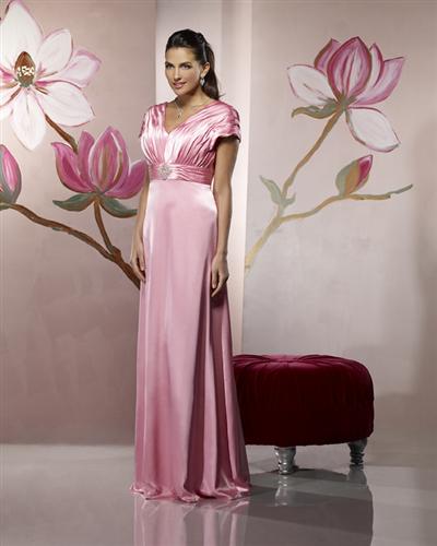 US$147.99 2015 Satin V-neck Pink Floor Length Short Sleeves