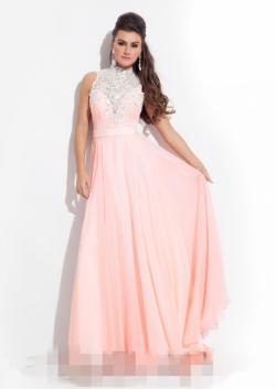 US$155.99 2015 Straps Appliques Floor Length Pink Chiffon Blue