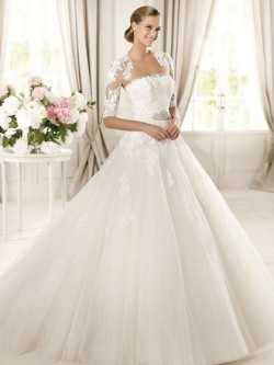 White Square Neckline Tulle Appliques Lace Ball Gown Nice Wedding Dress in UK