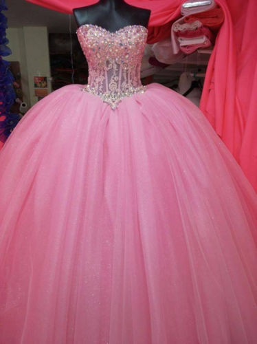 Wholesale 2017 Sweet 15 Dress Baby Pink Formal Prom Quinceanera Dress Illusion Party Ball Gown