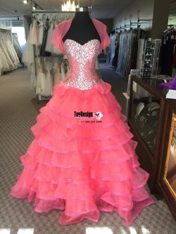 Wholesale 2017 Sweet 15 Dress Coral Rhinestones XV Dress Custom Make Quinceanera Dress
