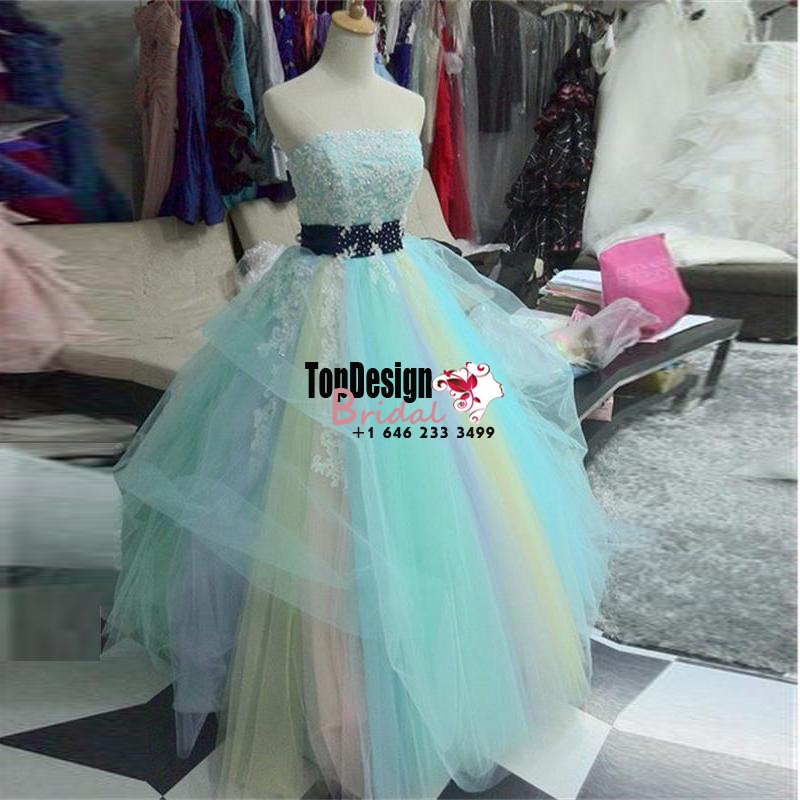 Wholesale 2017 Sweet 15 Dress Fashion Rainbow Quinceanera Dresses Ball Gown Beaded Appliques Pro ...