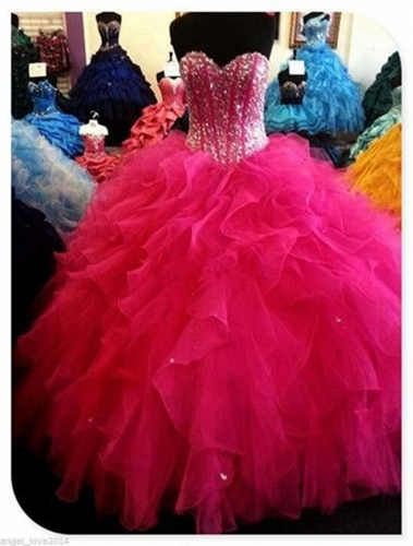 Wholesale 2017 Sweet 15 Dress Hot Pink Ball gown Quinceanera Dresses Beaded Prom Pageant Formal  ...