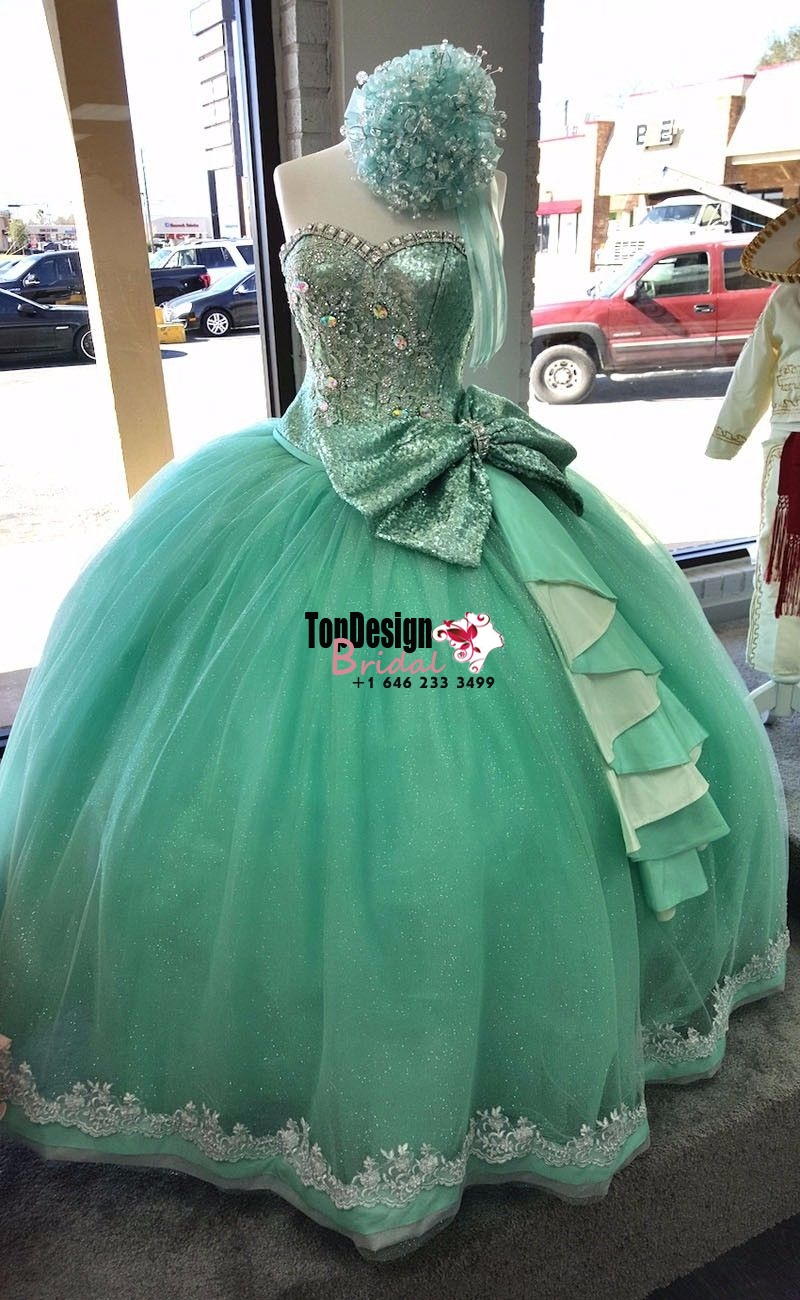 Wholesale 2017 Sweet 15 Dress Mint Green Silvery Beaded Shiny Quinceanera Dresses 2016 Big Bow P ...
