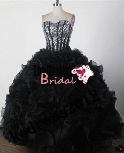 Wholesale 2017 Sweet 15 Dress New Black Quinceanera Formal Prom Party Ball Wedding Evening Dress