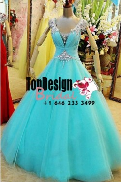 Wholesale 2017 Sweet 15 Dress New Blue Quinceanera dress XV Ball Gown