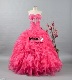Wholesale 2017 Sweet 15 Dress New Hot Pink Quinceanera Dress Prom Pageant Ball Gown Stock Size