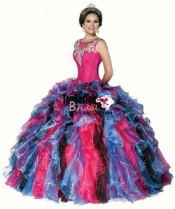Wholesale 2017 Sweet 15 Dress New New Multi-Color Scoop Neck Ball Gown Organza Quinceanera Dresses