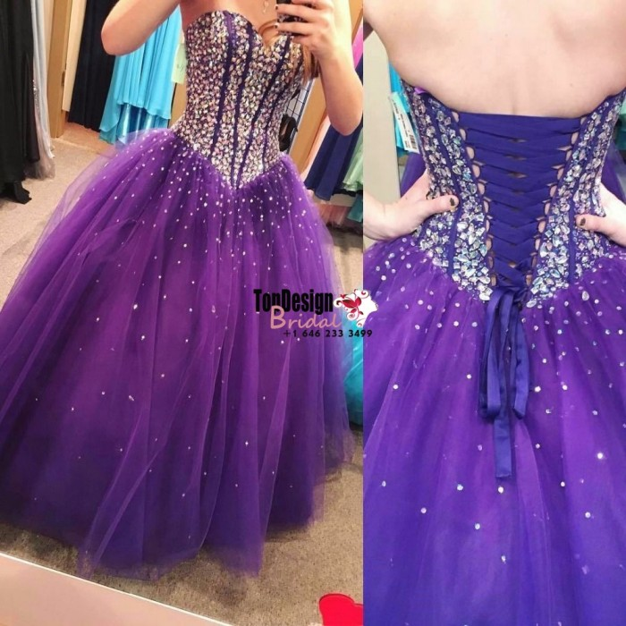 Wholesale 2017 Sweet 15 Dress New Purple Ball Gown Quinceanera Dresses crystals Beading Formal P ...