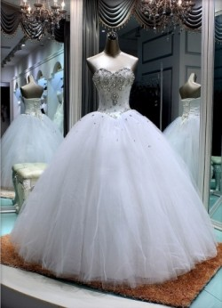 Wholesale 2017 Sweet 15 Dress New Rhinestone/Tulle Ball Gown Wedding Dress Prom Formal Gown Quin ...