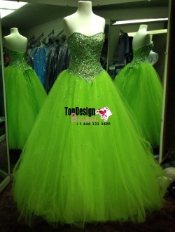 Wholesale 2017 Sweet 15 Dress New Sequined Rhinestones Green Tulle Quinceanera Dresses Ball Gown ...