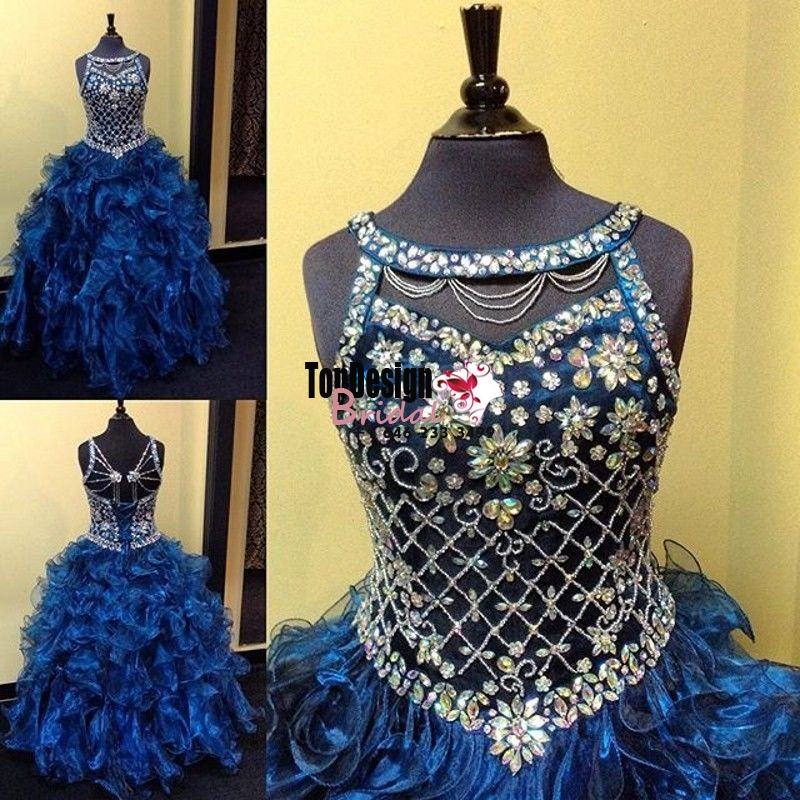 Wholesale 2017 Sweet 15 Dress Puffy Organza Crystals Quinceanera Dress Ball Gown Long Party Prom ...