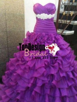 Wholesale 2017 Sweet 15 Dress 2016 Purple Ball Gown Sleeves Beading Handmade Flower Quinceanera  ...