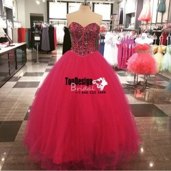 Wholesale 2017 Sweet 15 Dress Red Crystal Ball Gown Quinceanera Dresses Sweet 16 Frmal Prom Part ...