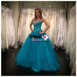 Wholesale 2017 Sweet 15 Dress Sky Blue Sweetheart Strapless Tulle Ball Gown Beaded Bodice Quince ...